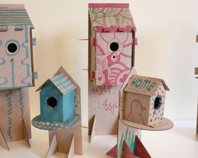 Boomhut Vogelhuisjes versierd 2